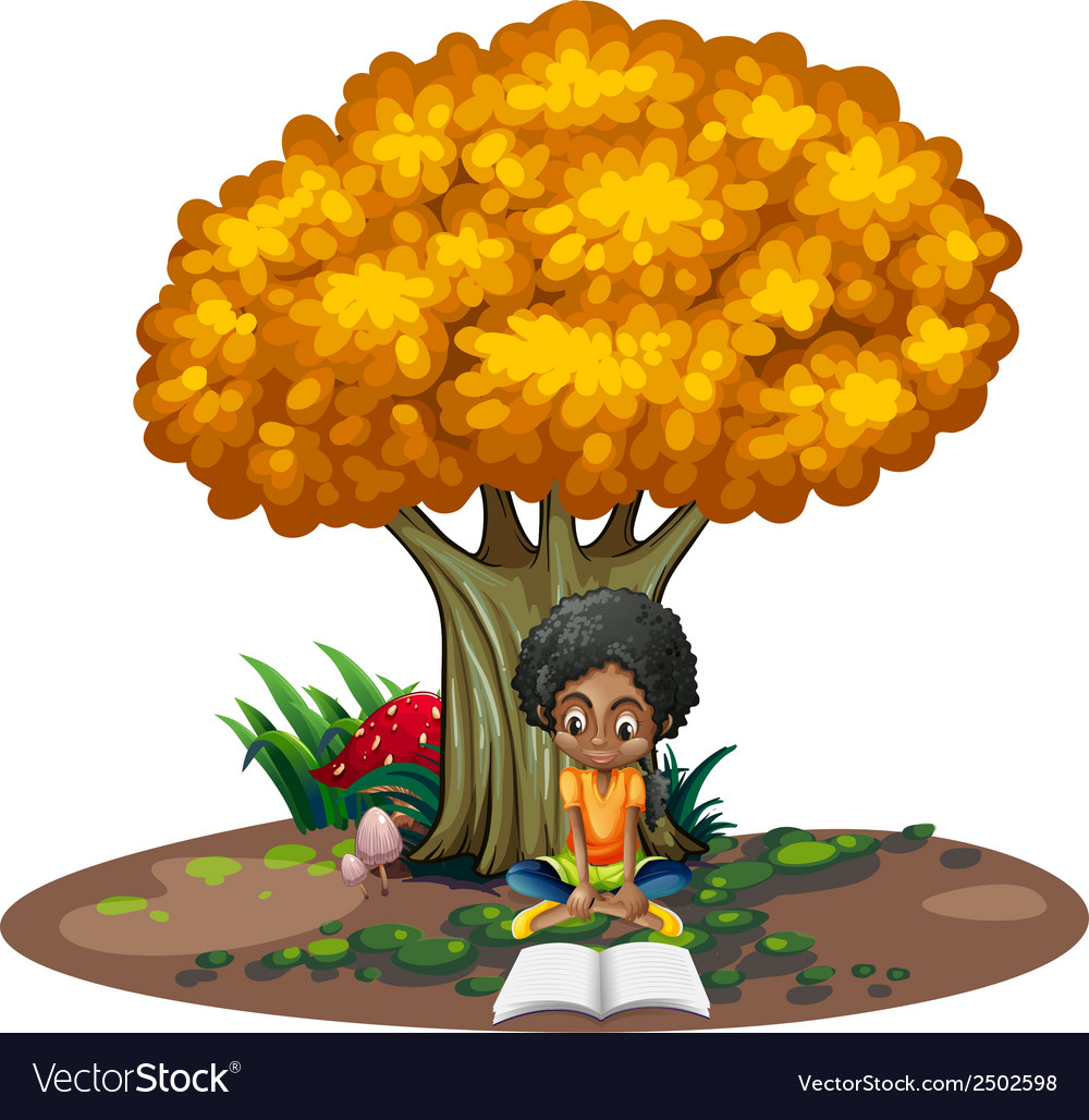 A black woman reading under the tree vector | Price: 1 Credit (USD $1)