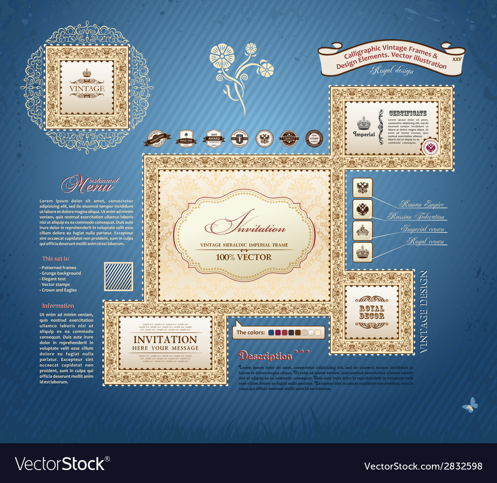 Calligraphic vintage frames and design elements vector | Price: 1 Credit (USD $1)