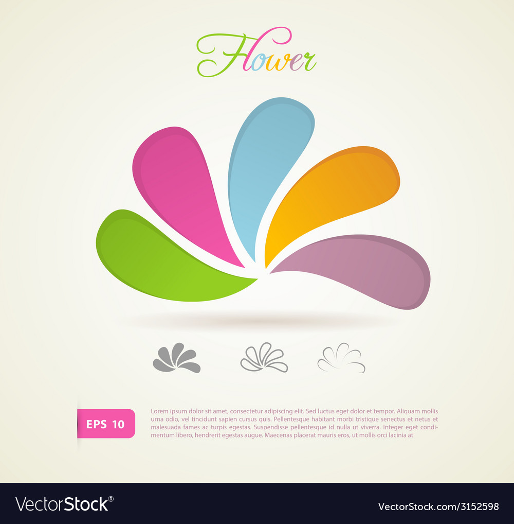 Colored flowers for your design vector | Price: 1 Credit (USD $1)