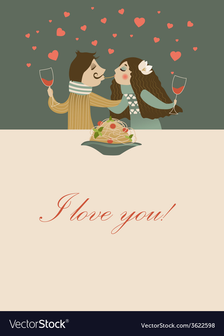 Couple in love eating spaghetti vector | Price: 1 Credit (USD $1)