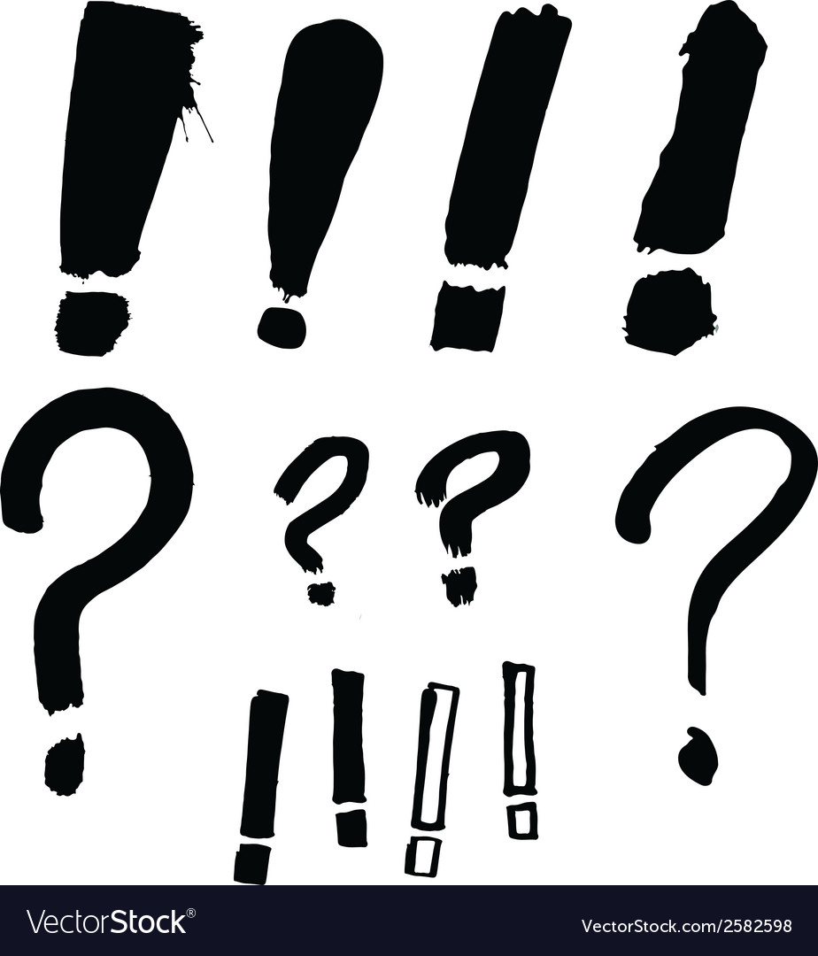 Drawn exclamation and question marks vector | Price: 1 Credit (USD $1)