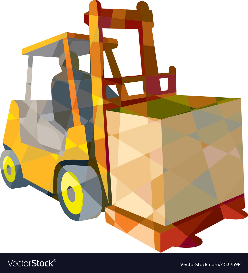 Forklift truck materials handling box low polygon vector | Price: 1 Credit (USD $1)