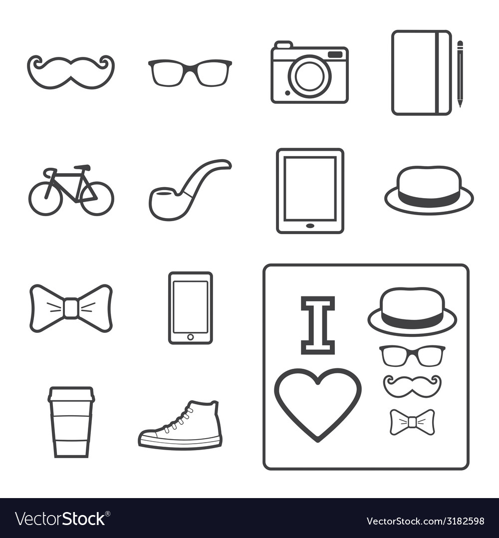Hipster icon vector | Price: 1 Credit (USD $1)