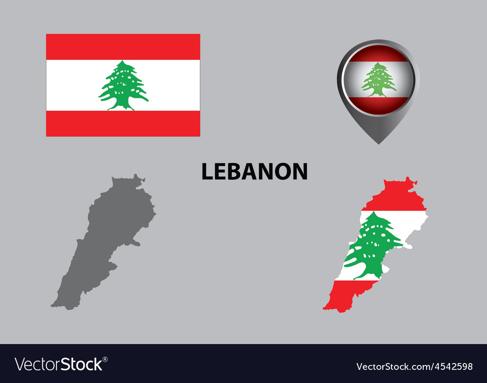 Map of lebanon and symbol vector | Price: 1 Credit (USD $1)