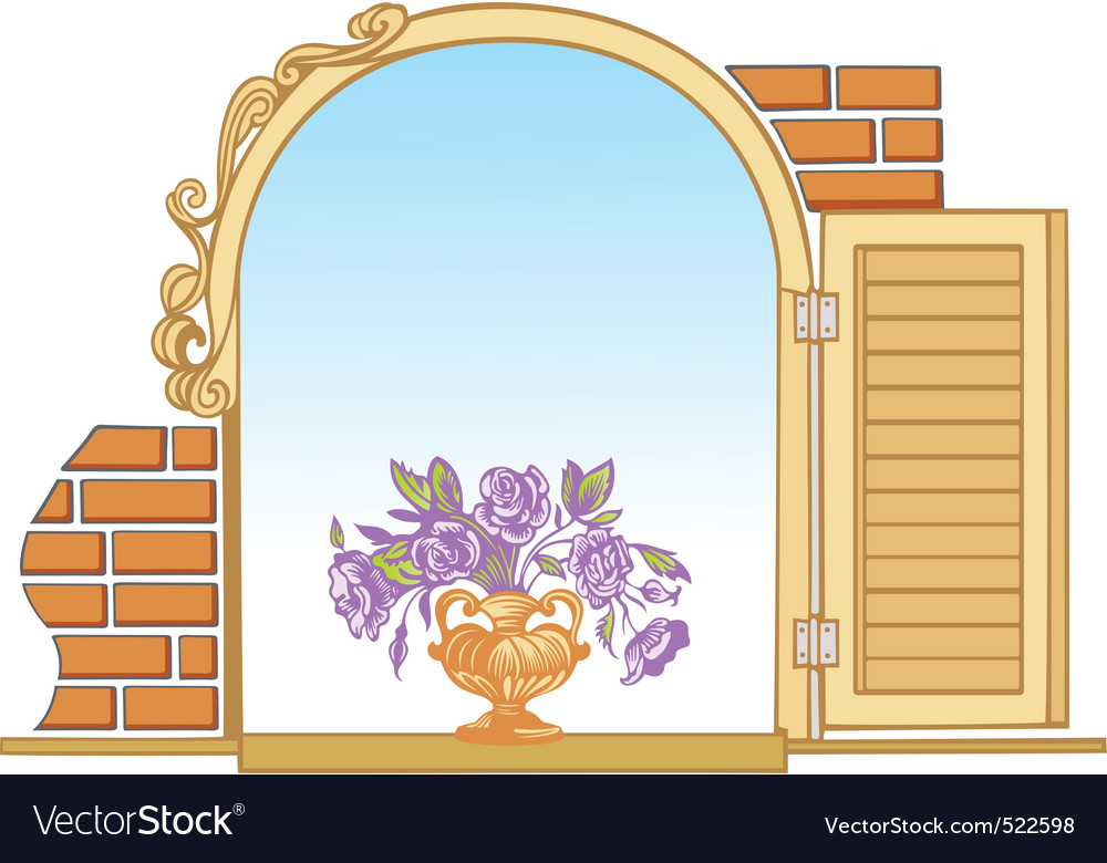 Old window and flowers vector   Price: 1 Credit (USD $1)