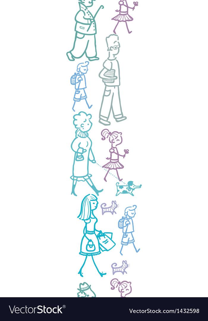 People walking vertical seamless pattern vector   Price: 1 Credit (USD $1)