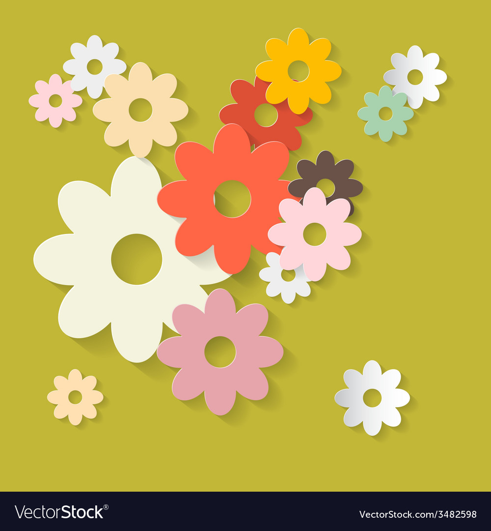 Retro flowers green paper background vector | Price: 1 Credit (USD $1)