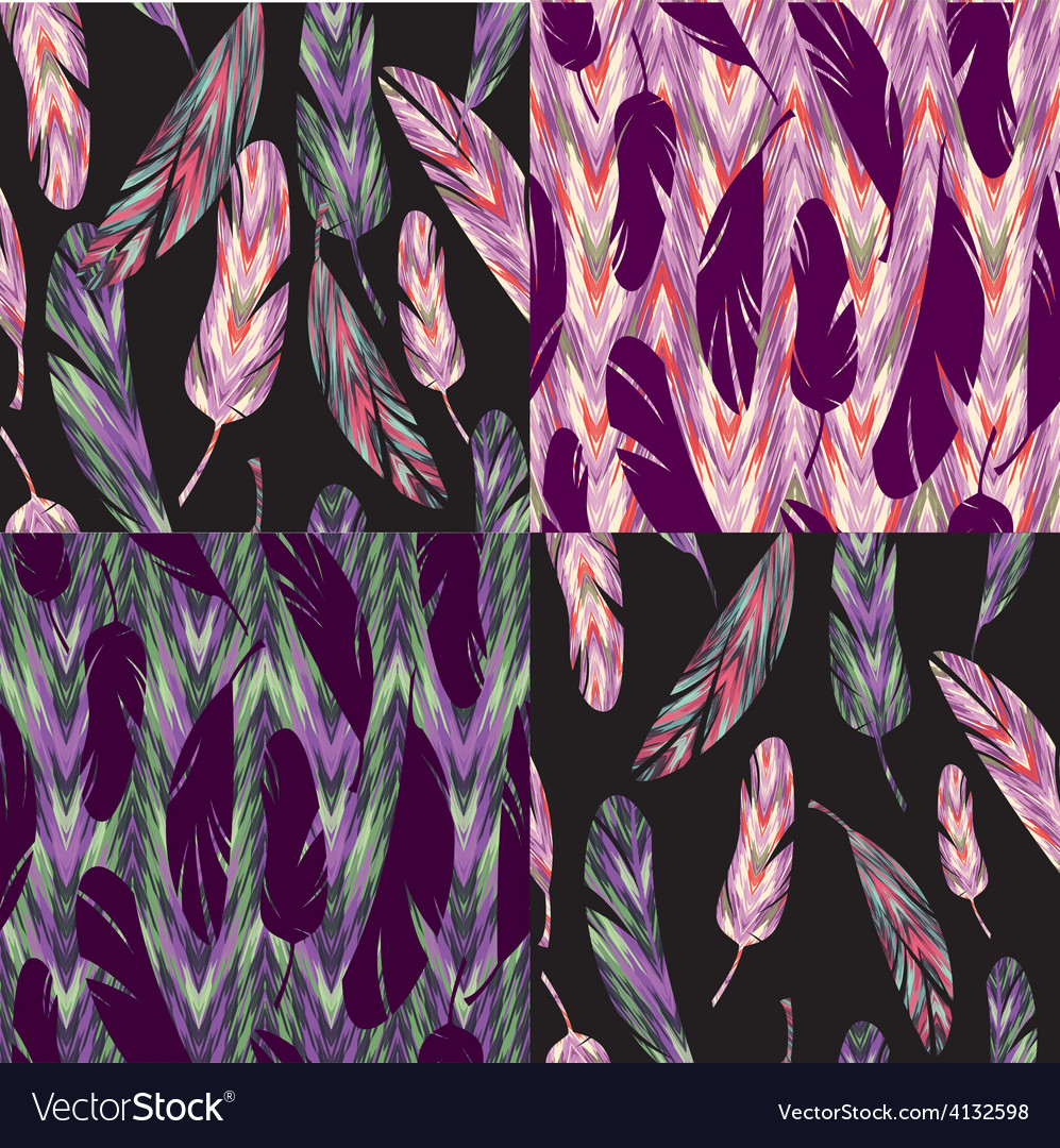 Seamless pattern bright abstract feathers vector | Price: 1 Credit (USD $1)