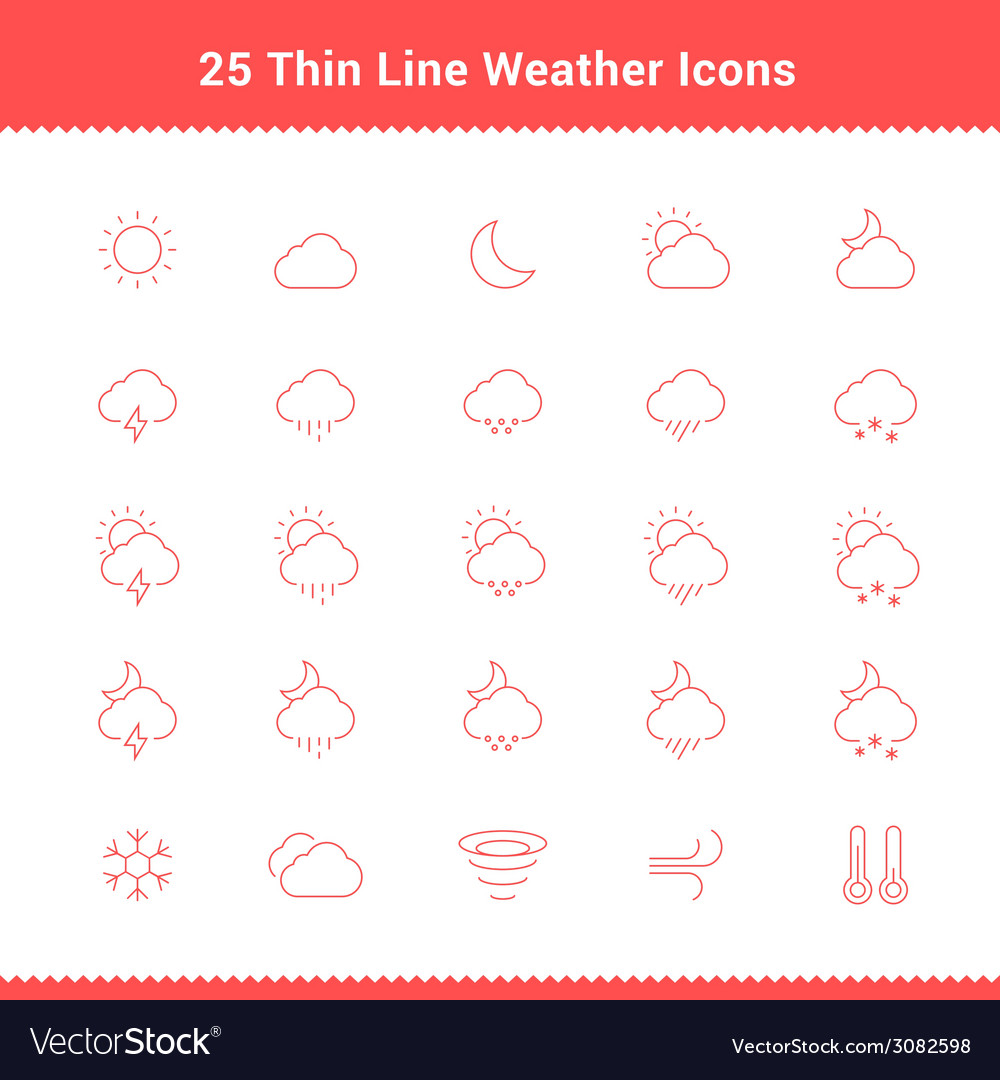 Set of thin line stroke weather icons vector | Price: 1 Credit (USD $1)