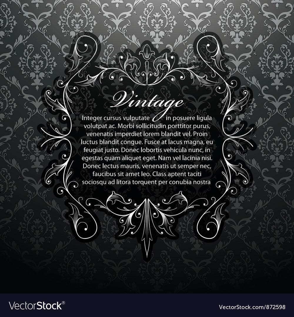 Vintage silver floral frame vector | Price: 1 Credit (USD $1)