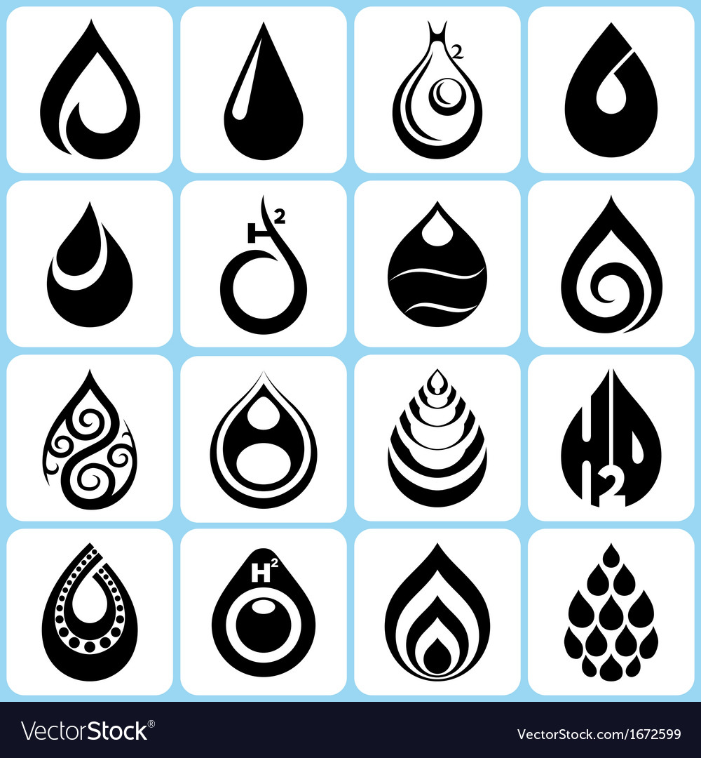 16 water drop icons set vector | Price: 1 Credit (USD $1)