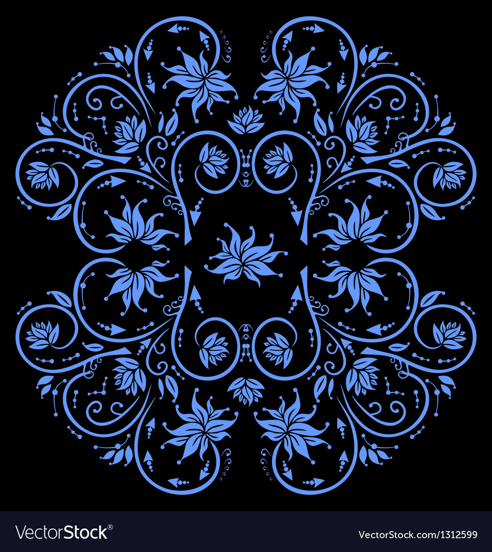 Abstract blue floral ornament vector | Price: 1 Credit (USD $1)