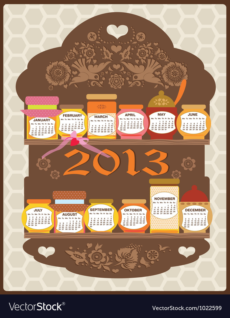 Calendar honey vector | Price: 1 Credit (USD $1)