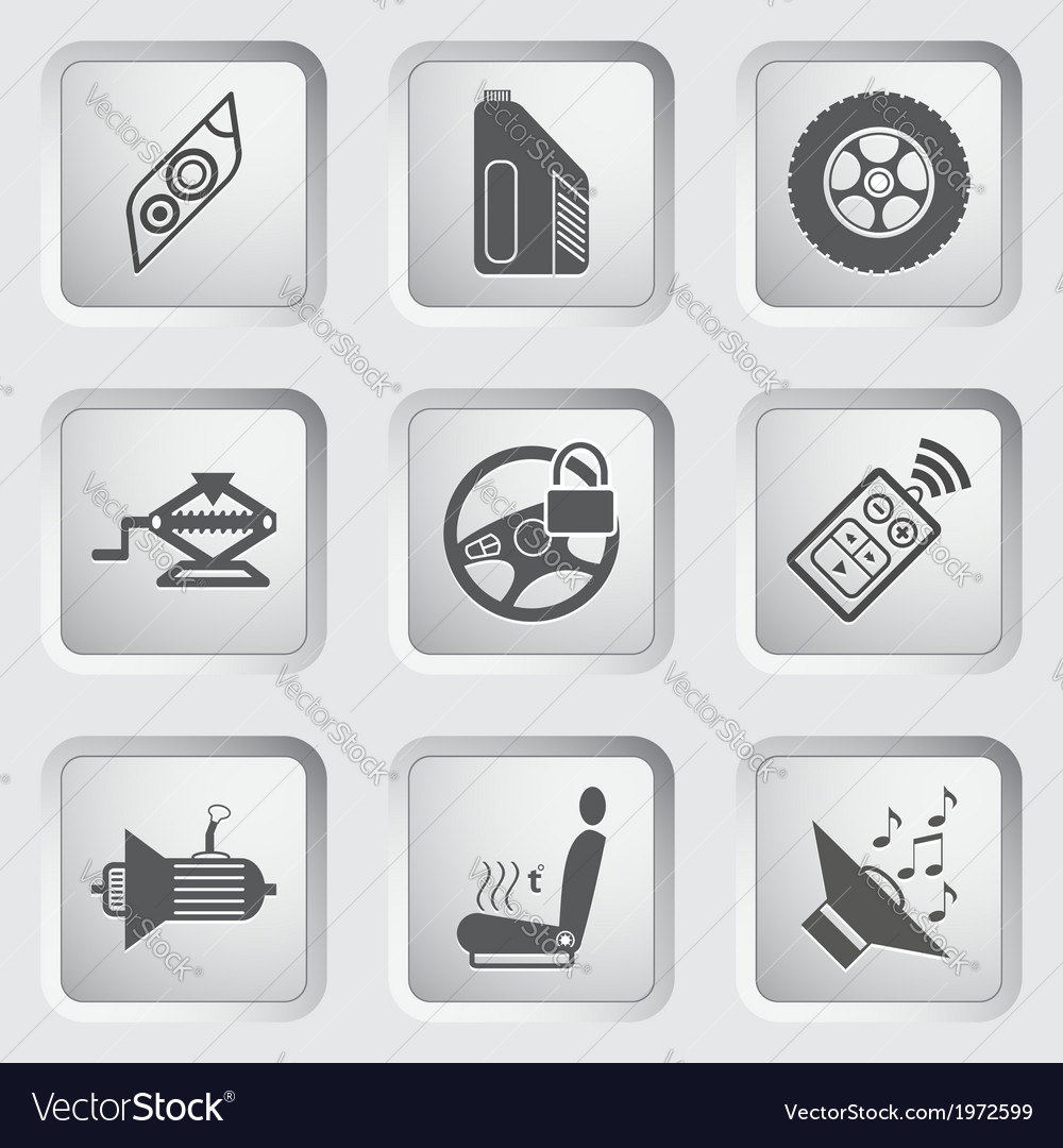 Car part and service icons set 5 vector | Price: 1 Credit (USD $1)