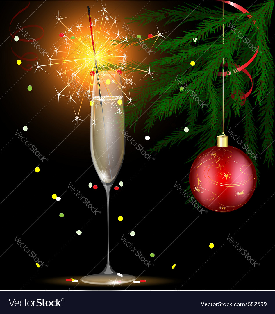 Champagne and christmas sparkler vector | Price: 1 Credit (USD $1)