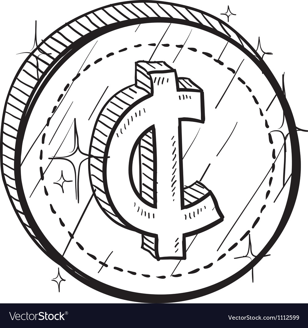 Doodle currency coin cent vector | Price: 1 Credit (USD $1)