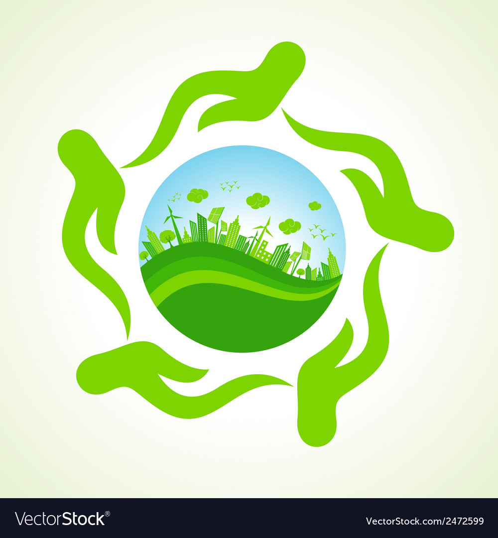 Eco- city or save nature concept vector | Price: 1 Credit (USD $1)