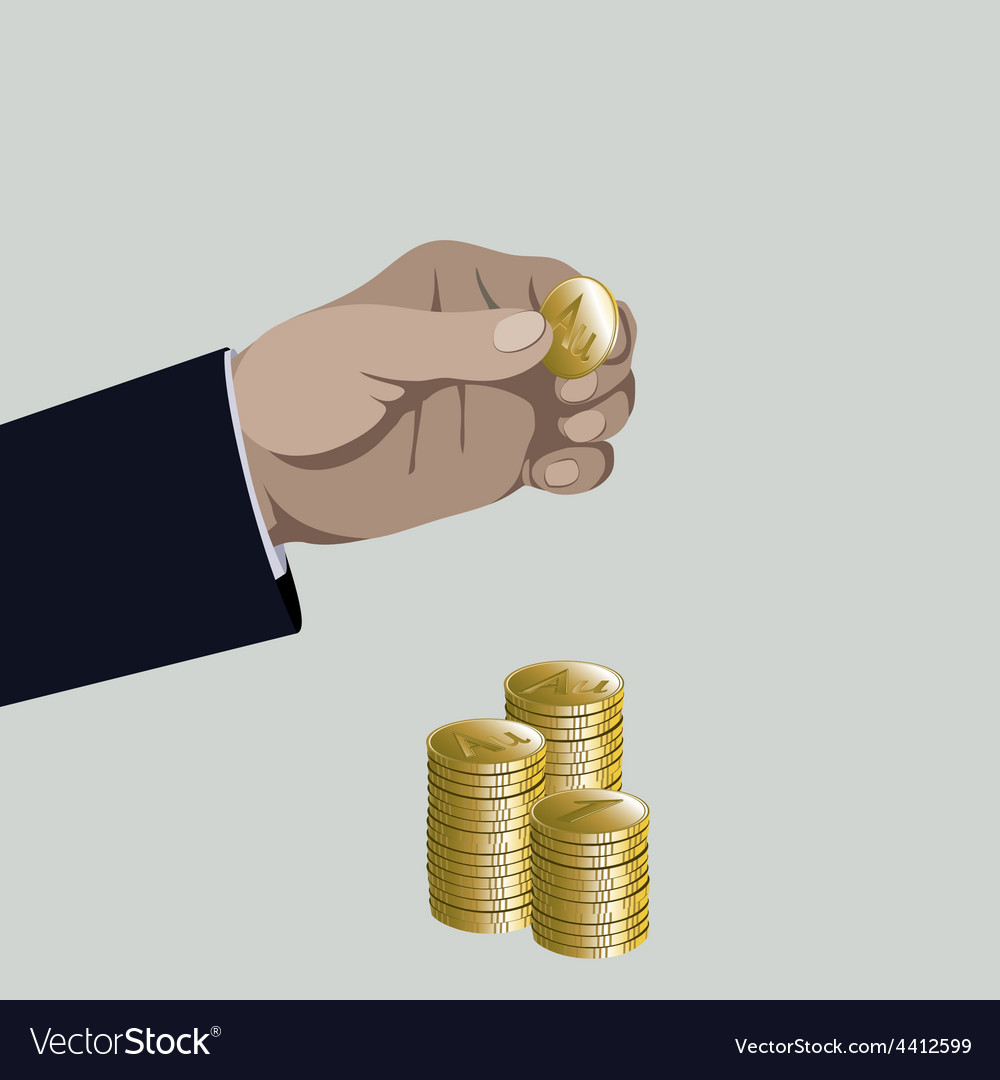Hand put gold coin to money stack vector | Price: 1 Credit (USD $1)