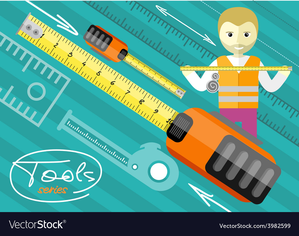 Happy male worker showing folding ruler vector | Price: 1 Credit (USD $1)