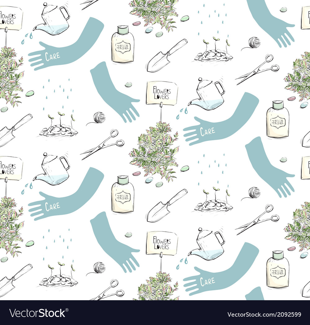 Home plants or gardening seamless pattern vector | Price: 1 Credit (USD $1)