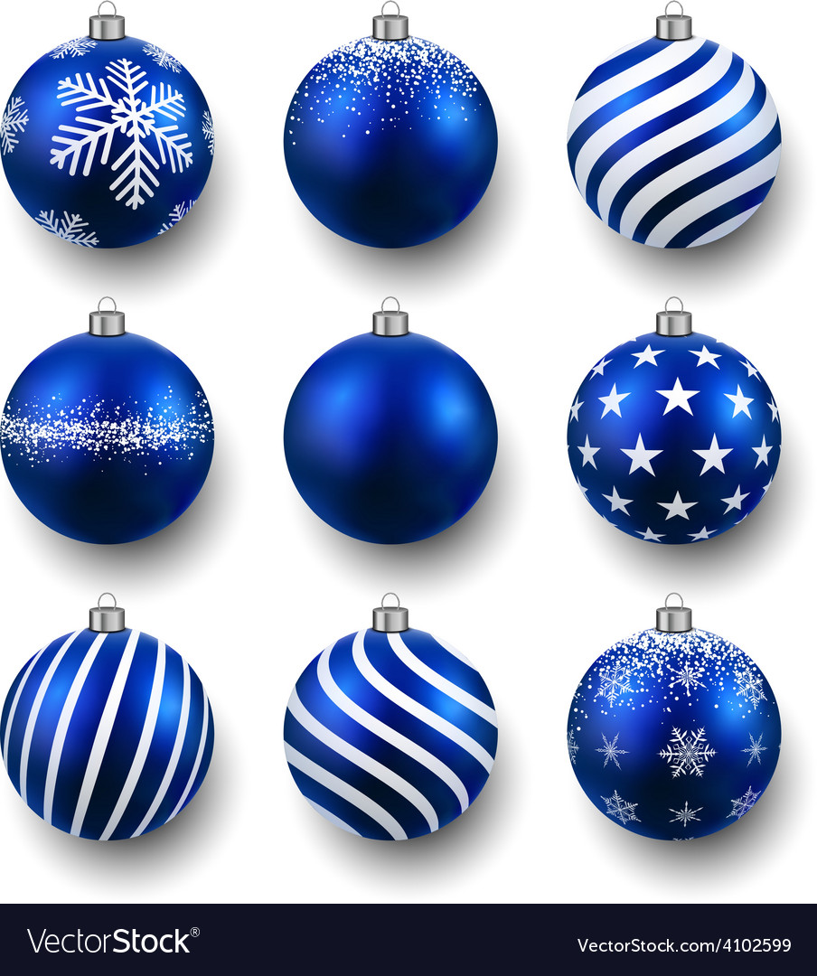 Set of realistic blue christmas balls vector | Price: 1 Credit (USD $1)