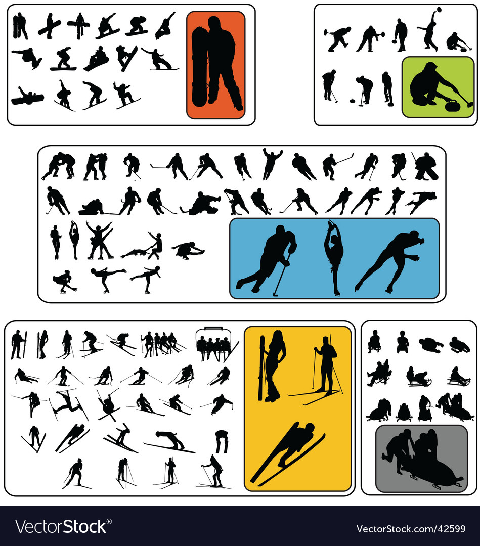 Simple winter sport silhouettes vector | Price:  Credit (USD $)