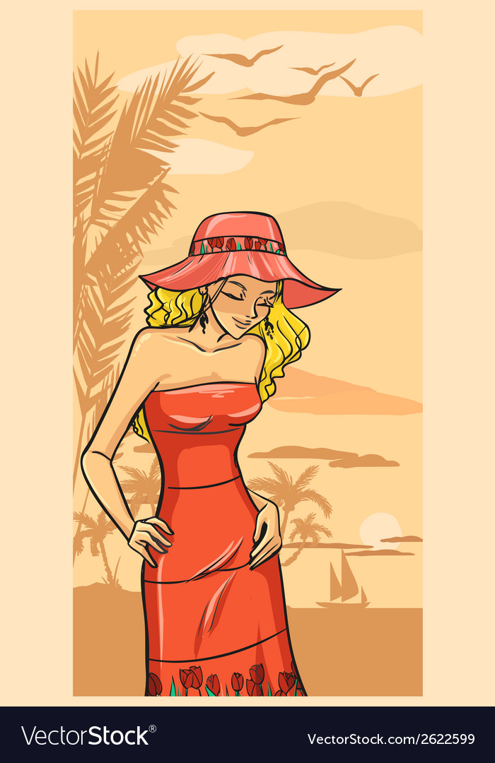 Summer beautiful girl in red dress and floppy hat vector | Price: 1 Credit (USD $1)