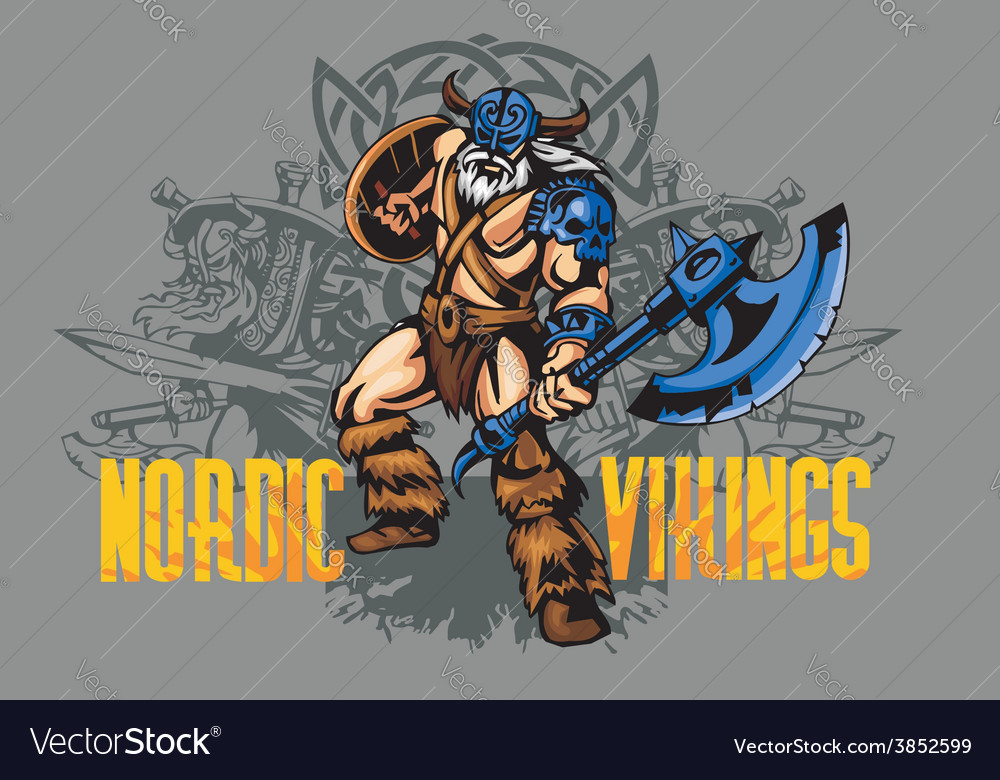 Viking warrior with big axe vector | Price: 3 Credit (USD $3)