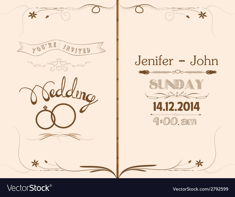 Wedding invitation floral retro vector | Price: 1 Credit (USD $1)