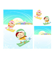 Boys and girls skiing winter season character vector