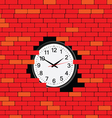Clock in the brick wall vector