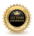 Hundred and twenty five years experience badge vector