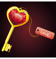 Golden key with diamond heart with label vector