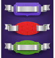 Ornate color frames with silver ribbons - vector