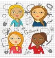 Colorful cartoon girls with accessories vector