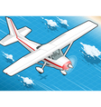Isometric white plane in flight in front view vector