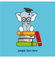 Elephant sitting on top of books vector
