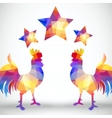 Abstract rooster of geometric shapes with stars vector