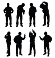 Conceived and nervous man silhouette vector