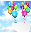 Multicolored balloons with paper card vector