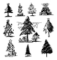 Christmas tree sketch on white background vector