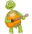 Funny turtle guitarist vector