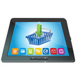 Tablet pc with shopping cart icon - ecommerce conc vector