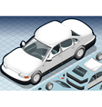 Isometric snow capped white car in front view vector