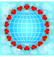 Cartoon red hearts circle around globe vector
