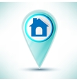 Glossy web icon home design element on a blue vector