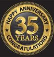 35 years happy anniversary congratulations gold vector