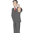 Businessman in suit shows thumb up vector