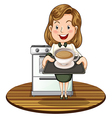 A woman holding a tray with a hot drink vector