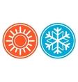 Snowflake with sun - season specific icon vector